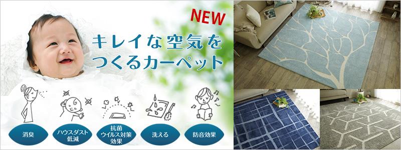 キレイな空気をつくるカーペットシリーズ。消臭効果や汚れても洗える安心感。お子様にも安心のハウスダスト低減機能や抗菌ウイルス対策効果も!オシャレで高機能なラグです。