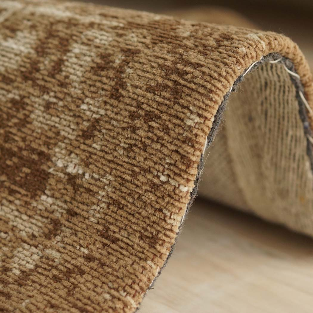 トルコ絨毯風 エレガント オールドデザイン綿混 コットンシェニールラグ