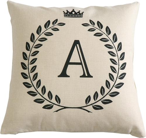 王冠 アルファベット シンプル カジュアルクッションカバー